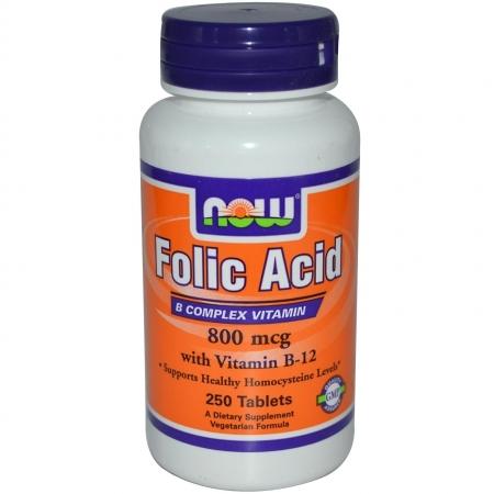 NOW Folic acid + Витамин В12 800 мг 250 таб.