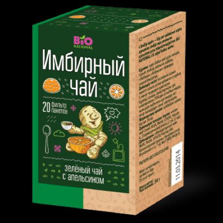 BIO NATIONAL Чай имбирный зеленый с апельсином 2 г*20 пак