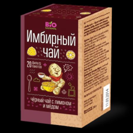 BIO NATIONAL Чай имбирный черный с медом и лимоном 2 г*20 пак