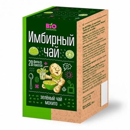 """BIO NATIONAL  Чай зеленый байховый с имбирем """"Мохито"""" 1,7*20 пак"""